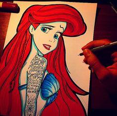 Sevilen Filmleri ve Oyuncuları Hiç Böyle Görmediniz! İşte Instagram'dan 23 Muhteşem Çizim Ariel, Turtle, Disney Characters, Fictional Characters, Aurora Sleeping Beauty, Disney Princess, Instagram, Illustration, Alternative