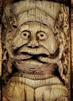 Green Bishop carving at St Collen's church, Llangollen, Wales