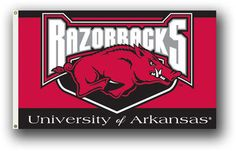 Arkansas Razorbacks Flag • NCAA Licensed – $19.00 FREE Shipping • Flags is quality Polyester and Nylon with grommets. • 3 ft x 5 ft – With double stitching around edges. • Flag can be used inside or out. • New - unused in original factory packaging • Usually ships within 72 hours or less with tracking. • Satisfaction guaranteed or your money back. We accept all Major credit cards, PayPal, Money orders, •  We offer no pick-ups – we sell from our website   Sportsworldwest.com