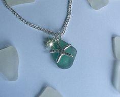 Green sea glass necklace. Starfish sea beach glass necklace.