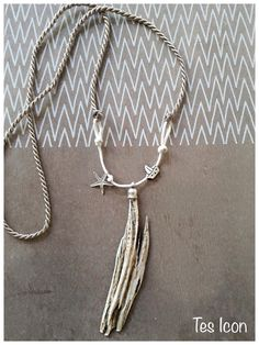 Driftwood pendant with silver starfish