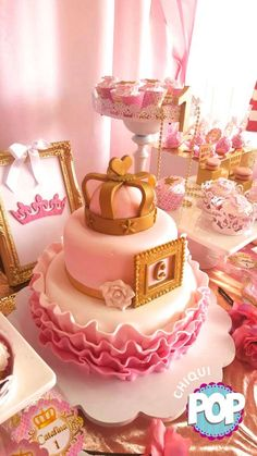 Pink and gold princess birthday party cake! See more party planning ideas at CatchMyParty.com!