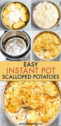 These Best Easy Instant Pot Scalloped Potatoes are the perfect make ahead decadent side dish or main for Easter, Thanksgiving, Christmas, Dinner or larger gatherings! The dauphinoise potatoes / au gratin potatoes are cooked to tender perfection in a creamy, cheesy sauce with a golden crunchy top. Check out how to make these cheesy scalloped potatoes in the Instant Pot, oven or crockpot. #instantpot #instantpotrecipes #scallopedpotatoes #potaoes #dauphinoisepotatoes #cheesypotatoes Easy Cheesy Scalloped Potatoes, Scalloped Potato Recipes, Supper Recipes, Lunch Recipes, Appetizer Recipes, Potted Beef Recipe, Best Instant Pot Recipe, Pressure Cooker Recipes, Cheesy Sauce