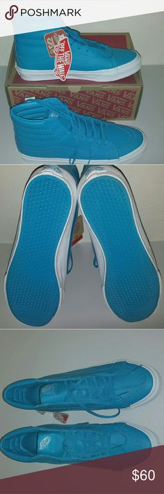 NWT Vans Leather SK8-Hi Slim Neon Blue Beautiful vibrant color (more like a teal blue) .  Leather upper with padded collars for support and flexibility.   Unisex: M 6/W 7.5 and M 6.5/W 8.0 Vans Shoes Sneakers