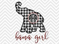 Bama Girl Houndstooth Monogram Elephant Roll Tide Alabama SVG and DXF Cut File • PNG • Vector • Download File • Cricut • Silhouette By Kristin Amanda Designs SVG Cut Files