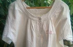 White Victorian Nightgown Red Monogram French by SophieLadyDeParis