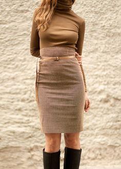 Pencil skirt High waist skirt Corduroy skirt Brown skirt by folco