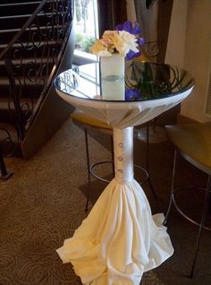 unique way to sash a coctail table Cocktail Wedding Reception, Wedding Lounge, Wedding Tables, Wedding Ceremony, Cocktail Table Decor, Cocktail Tables, Party Table Decorations, Wedding Decorations, Wedding Ideas