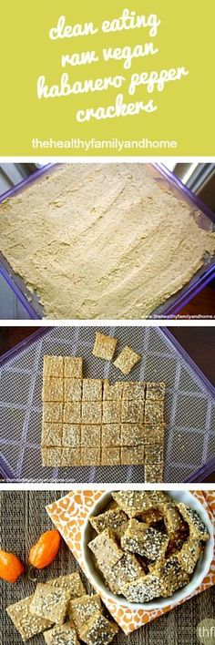 Gluten-Free Vegan Raw Habanero Pepper Crackers Clean Eating Raw Vegan Habanero Pepper Crackers…made with clean ingredients and a dehydrator and Raw Vegan Recipes, Vegan Foods, Vegan Snacks, Vegan Gluten Free, Healthy Snacks, Vegetarian Recipes, Dairy Free, Healthy Eating, Fruits Déshydratés