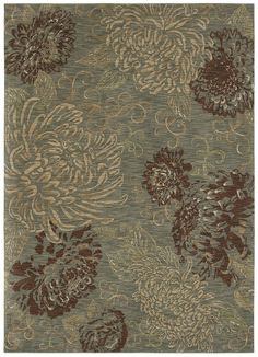 "Area Rug in the HGTV HOME Flooring by Shaw Collection in style ""Vintage Bloom"" color Ocean."