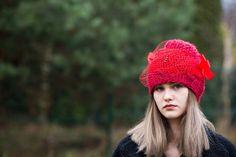 Women's Hat Winter red Women Hat Slouchy by Isabellwoolstudio