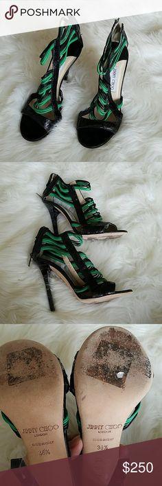 AMAZING Jimmy Choo green black strappy heels To die for. Leather Authentic Jimmy Choo high heels. Jimmy Choo Shoes Heels