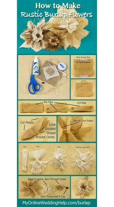 Instructions for how to make rustic burlap flowers. Written step-by-step, infographic, and video for three-level, two-tone burlap flowers.