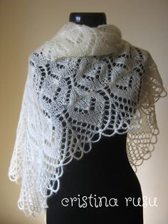 Ivory knitting lace shawl Mohair shawl  by CrisColourCrochet