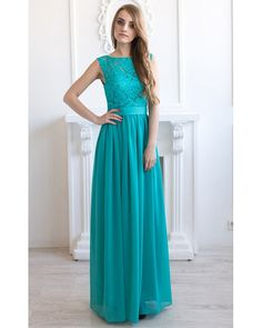 Turquoise bridesmaid dress long Turquoise by AliceBerryFashion