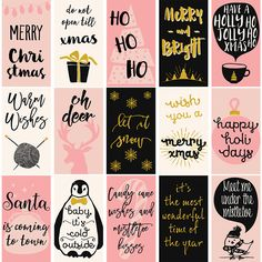 This listing is for a Christmas set of 16 gift tags/mini cards, available in both printable and clipart versions. WHAT YOU GET - 16 JPG cliparts 510px x 900px @96dpi (web and digital resolution) - 1 printable JPG 8.5x14 @300dpi (print resolution) with all 16 cards. Each card