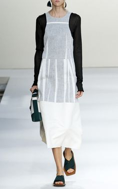 Bonded Cotton Silk Toile Long Sleeve Dress by Marni for Preorder on Moda Operandi