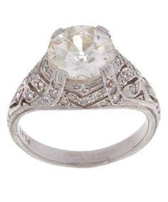 Platinum and 2-3/4-ct TW Old Mine Cut Diamond Engagement Ring