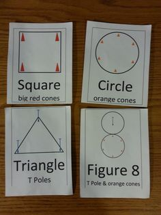Here is a simple game I did a few weeks ago. It can be modified in a million ways! Props: 3 upright or T poles in triangle 4 tall cones in square 8 small cones in circle 4 cards depicting the shape...
