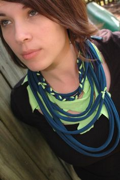 Spring Upcycled Teal Lime Green and Navy Blue by alamodescarves, $25.00