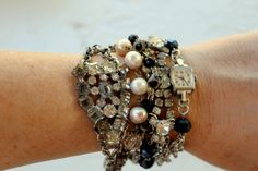 Vintage Rhinestone Pearl and Finding Layered Assemblage Bracelet