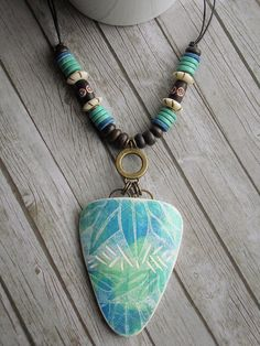 Large Blue Green Leaf Carved Pendant | by WiredOrchid