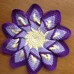crochet starburst flower hot pad trivet or potholder