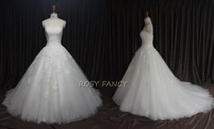 Classic Strapless Fitted Bodice Lace Applique Bridal Ball Gown by RosyFancyWorkshop, $350.00