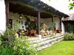 The House where we stayed In San Cristobal Hacienda Style Homes, Spanish Style Homes, Spanish House, Mexico House, Cottage Homes, Outdoor Rooms, Traditional House, Backyard Landscaping, Beautiful Homes