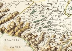 Sugar-loaf mountains and little trees mark the boundary of Transylvania from a map of Russie Noir by Guillaume Le Vasseur de Beauplan, 1665 (via Vkrania)