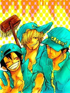Monkey D. Luffy , Sanji and Roronoa Zoro