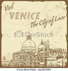 visita, Venecia, vendimia, cartel - csp16372561