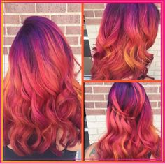 Rainbow Unicorn Phoenix hair! Purples that melt into red, orange, and a splash of yellow. Tahitian sunset hair.
