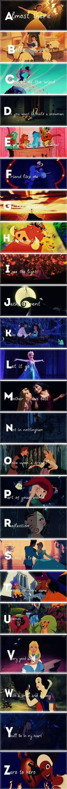 The alphabet, the Disney way. THERES NO X or Q though
