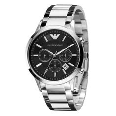 Show him you love him, perfect gift for valentines day. Men's Emporio Armani Chronograph watch and bracelet in stainless steel. The black dial gives this Emporio Armani watch an elegant, masc…#armani #watch #style #luxury #onsale #onlyonsale #onsaleuk