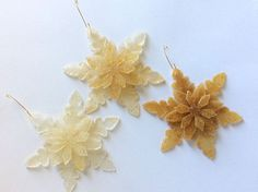 Custom Made Snowflake Christmas Ornament with Flowers In Resin