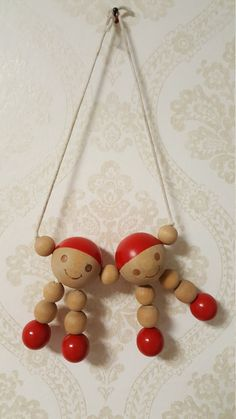 """Finnish Aarikka Wooden baby toy """"Muksut"""" Made in the Wooden Baby Toys, Christmas Ornaments, Holiday Decor, Red, How To Make, Painting, Etsy, Home Decor, Decoration Home"""