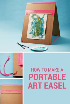 Your mini Monet can have their own art station with this easy DIY cardboard art easel.