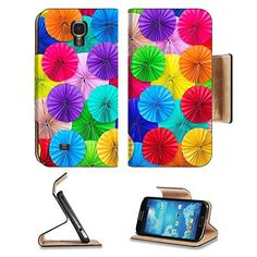 MSD Premium Samsung Galaxy S4 Flip Pu Leather Wallet Case Colored paper folded in a circle Ornamental decorated background IMAGE 34616929 >>> Click on the image for additional details.