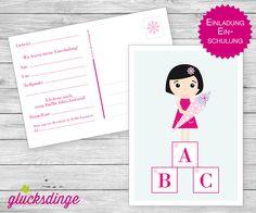 6 x Einladung zum ♥ SCHULANFANG ♥ ABC-Mädchen von j-designerie - FEINE DRUCKSACHEN auf DaWanda.com