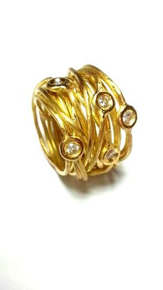 Unique cocktail diamond ring 18k yellow solid gold by JKASHI1889