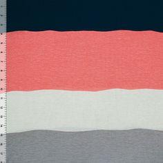 Girl Charlee   Blue Peach Gray Wide Wavy Stripe Cotton Jersey Blend Knit Fabric   30% stretch, $6/yd