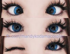 Barbie Puffy 3 tones blue are strongly pigmented so they stay loud, no matter how dull the light is. They look cobalt blue where the yellow pollen dust surrounding the pupil creates an enchanting effect. Gyaru Makeup, Kawaii Makeup, Cute Makeup, Pretty Makeup, Makeup Looks, Anime Cosplay Makeup, Cosplay Contacts, Colored Eye Contacts, Blue Contacts