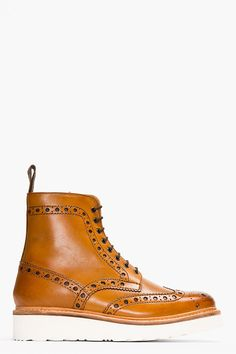 GRENSON Tan Leather Double Sole Fred Brogue Boots Want TIZ sooo BAD !!