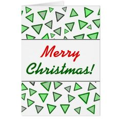 Many Triangles Colored Various Shades of Green Card - merry christmas diy xmas present gift idea family holidays