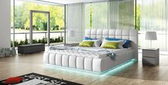 Modern Bed Frame with LED lights for your room! Best Platform Beds, Modern Platform Bed, Platform Bed Frame, Upholstered Platform Bed, Upholstered Beds, European Furniture, Modern Furniture, Space Saving Furniture, Living Room Furniture