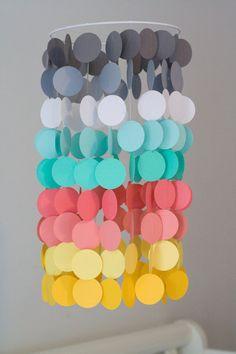Gray, Seafoam, Coral,and Yellow and Paper Crib Mobile, Modern circle mobile, geometric crib mobile, nursery mobile, teen room, wedding decor