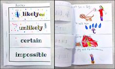Standard: Develop and evaluate inferences and predictions that are based on data. Rationale: This is a probability flip book to hep students practice their understanding of likely, unlikely, certain, and impossible Probability Games, Graphing Activities, Numeracy, Math Classroom, Kindergarten Math, Teaching Math, Teaching Ideas, Classroom Ideas, 1st Grade Math