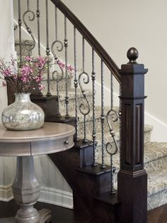 Home Design, Decorating & Remodeling Ideas — staircase by Millennium Cabinetry. Wrought Iron Stair Railing, Staircase Railings, Iron Balusters, Banisters, Staircases, Railing Design, Staircase Design, Railing Ideas, Book Staircase