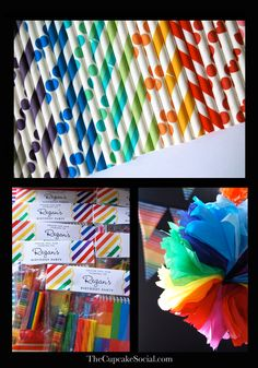 rainbow straws- I need these!!! Love the favors and of course the tissue paper decoration